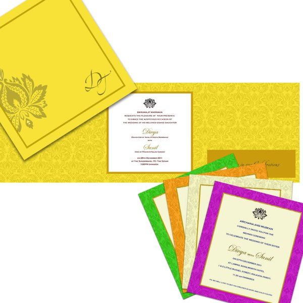 Wedding Card design by Frescoes Invitation Couture
