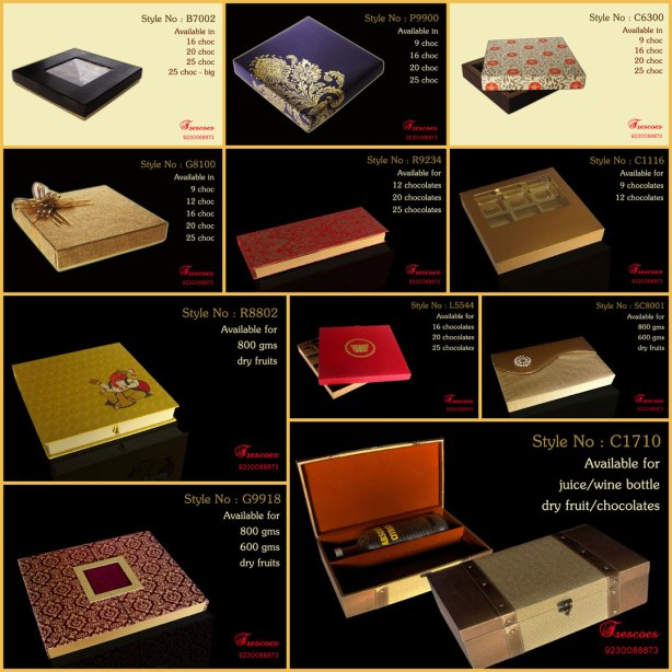 Frescoes specializes in Chocolate gift boxes to suit any corporate or personal gift giving occasion like Weddings, Durga Puja, Diwali, Id, New Year, Corporate Conferences or Parties.