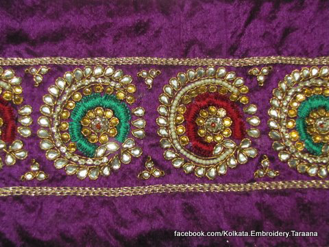 Fine Traditional And Bollywood Replica Indian Designer Saree Borders Laces In Hand Embroidery ...
