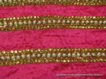 Wholesale hand-embroidery golden saree border with pearls and crystals for designer couture Indian Bridal fashion