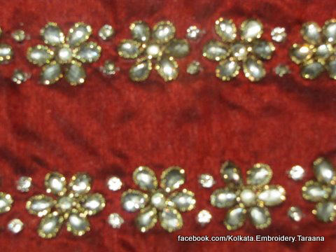 Hand Embroidered Crystal and gold flowers boutis to add glamour to any skirt jacket anarkali saree lehnga