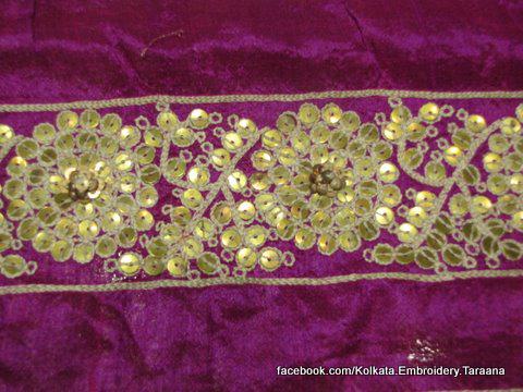 Metal tested tikki handmade zardozi Indian whitework designer saree border for bridal wear