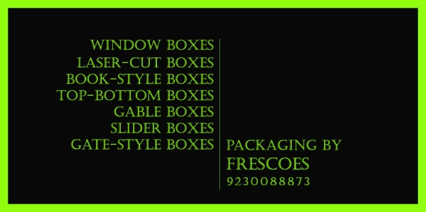 A COMPLETE PACKAGE  For Chocolatiers & Gift Suppliers If you are in the business of sweets, chocolates, brownies or dryfruits and looking for an affordable yet attractive box packaging solutions for your Food items or gifts, this Kolkata Designer/ Manufacturer is THE SOURCE FOR CREATIVE PACKAGING. Even as FRESCOES ceded ground in the crucial Premium Gift Packaging market, we have been able to attract buyers with our lower-end products in mithai and sweet shop markets, where consumers are much more price conscious and where the much-admired innovative custom designing in-house platform gives us an edge. To make an inquiry or to place an order, please email on krishna.keyal@gmail.com or call 09230088873 CLIENTS Resellers, Sweet shops, Dry-Fruits Vendors, Home-made Chocolate stores, Corporate Houses, Wedding Planners