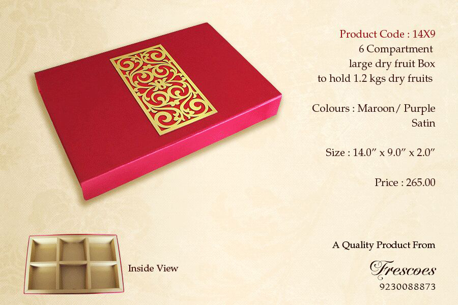 Ready to buy stock of large high-end premium diwali gift boxes for dry-fruits and chocolates in maroon red and purple pink color satin embellished with beautiful simple elegant laser-cut engraving designer panel that makes your gift this festive season 2014-2015 unique. Directly buy from the leading MANUFACTURER/ DESIGNER AND STOCKISTS OF a huge range of paper and cardboard boxes in bulk at wholesale prices.